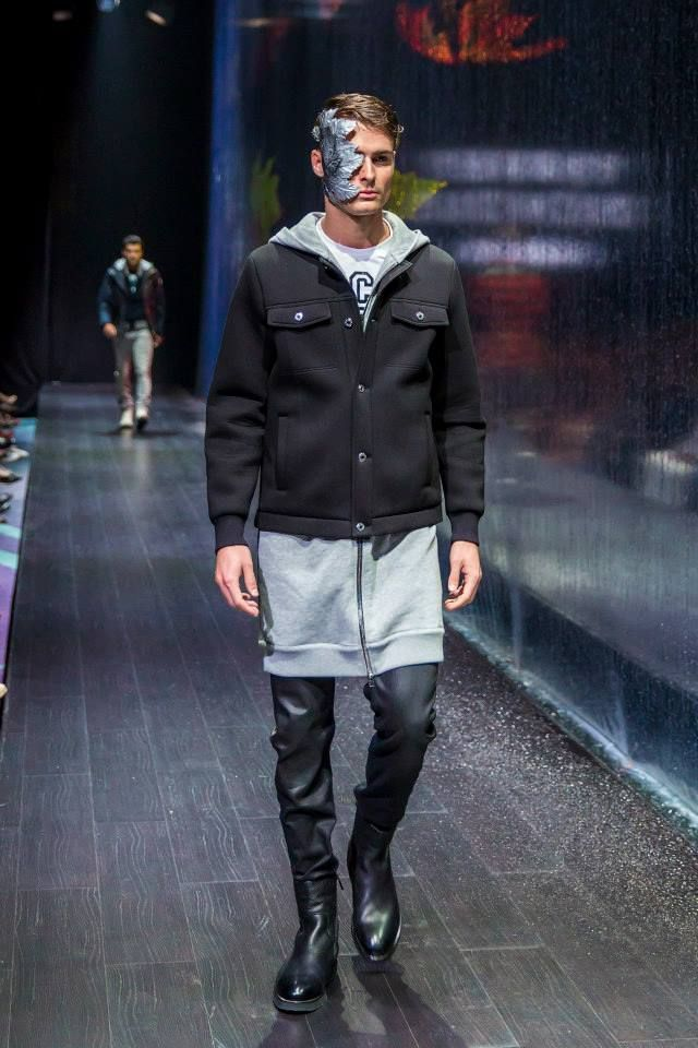 Markus Lupfer (shirt), Givenchy (jacket), Diesel (trousers) and Moreschi (boots) at Harvey Nichols - Dubai