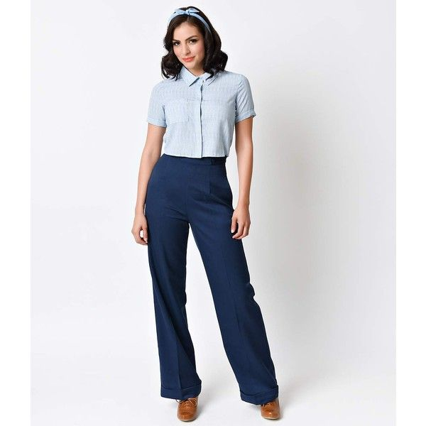 Banned 1940s Navy High Waist Party On Stretch Sailor Pants ($52) ❤ liked on Polyvore featuring pants, blue, white pants, navy blue dress pants, vintage high waisted pants, navy blue pants and high-waisted pants