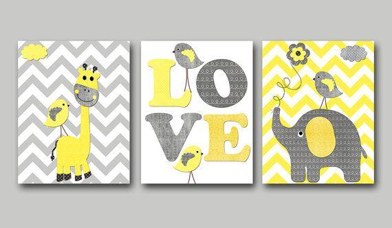 Yellow and Gray Baby Boy Nursery Art Print Children Wall Art Baby Room Decor Kids Print set of 3 Giraffe Elephant Birds Baby Art Prints