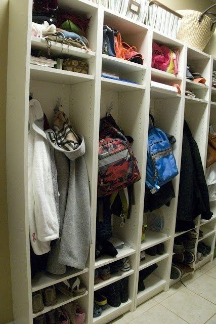 Mudroom Lockers. Use adjustable shelves in Ikea bookcases.