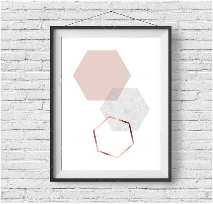 Blush Print, Blush Wall Art, Blush Poster, Copper Print, Copper Wall Art, Scandinavian Print, Blush Home Decor, Honeycomb Print, Hexagon Art by PrintAvenue on Etsy https://www.etsy.com/ca/listing/241563732/blush-print-blush-wall-art-blush-poster