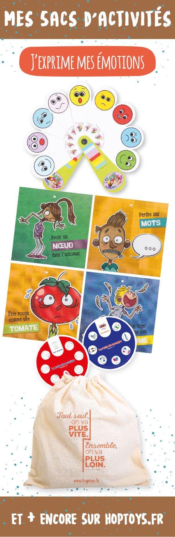 MON KIT J'EXPRIME MES EMOTIONS Ce kit est idéal pour permettre à l'enfant d'exprimer, de gérer ses émotions, et de trouver lui même une solution. Ce kit contient : sac en toile, éventail des émotions, Idéo roue de secours, cartons des sensations physiques