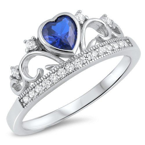 Metal Material: .925 Sterling Silver Simulated Blue Sapphire CZ Heart Clear Cubic Zirconia (CZ) Accents Ring Top Height 8mm 1.75mm...