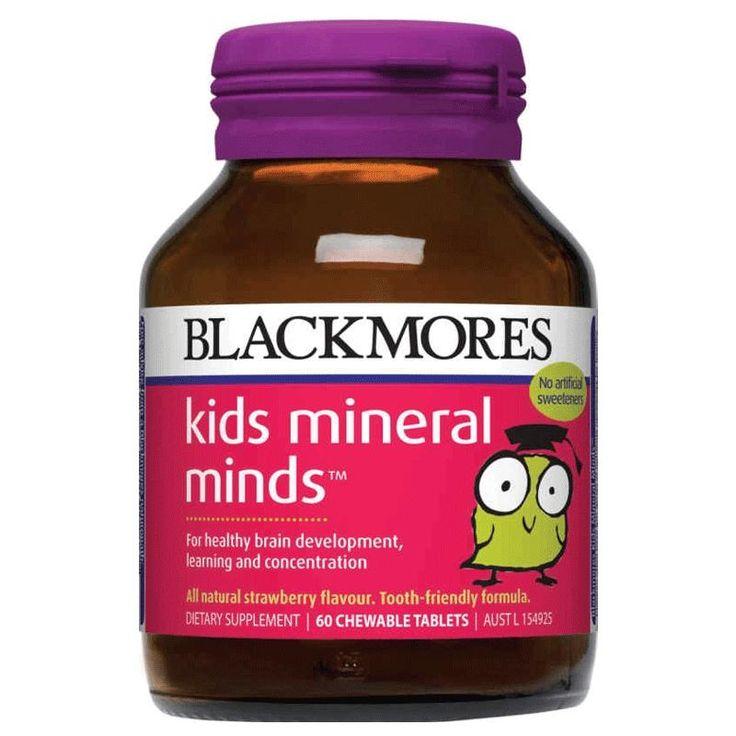 Blackmores Kids Mineral Minds adalah formula yang dibuat untuk mendukung kesehatan pertumbuhan otak pada anak. Formula ini juga dapat membantu anak belajar dan konsentrasi lebih baik. Per botol 60 tablet. Harga Rp 216.000,- di luar ongkir TIKI/JNE. Ready stock!
