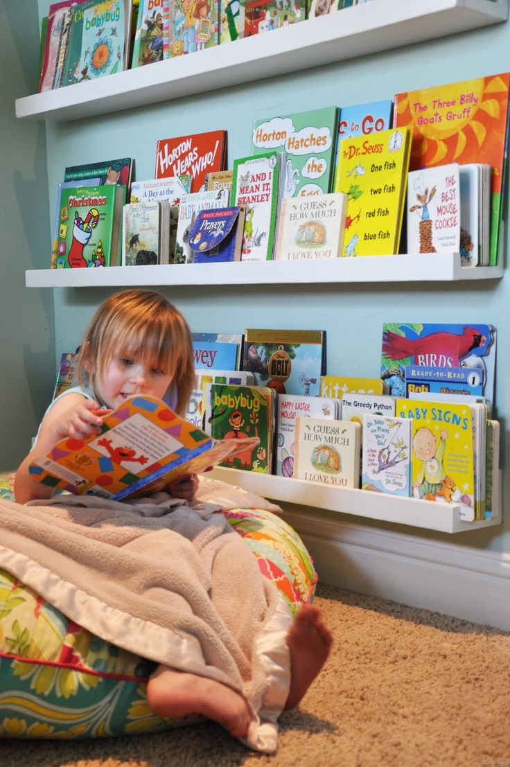 best  bookshelves for kids ideas on pinterest  girls bookshelf  - great looking linear bookshelves easy peasy  kids' books become the artfor that wall much easier to find a favorite book than if it were stackedon a