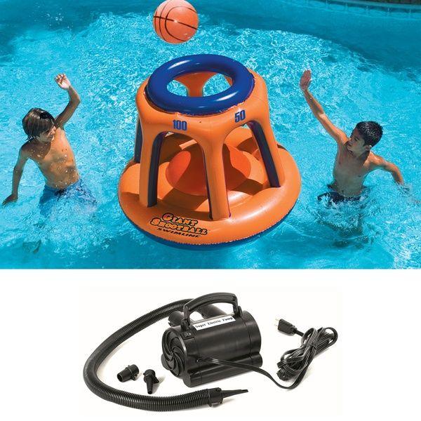Swimline 45″ Basketball Hoop Shootball Inflatable Pool Toy + Electric Air Pump