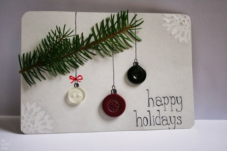 Carte de voeux pour Noël, décorée de boutons- 28 idées top