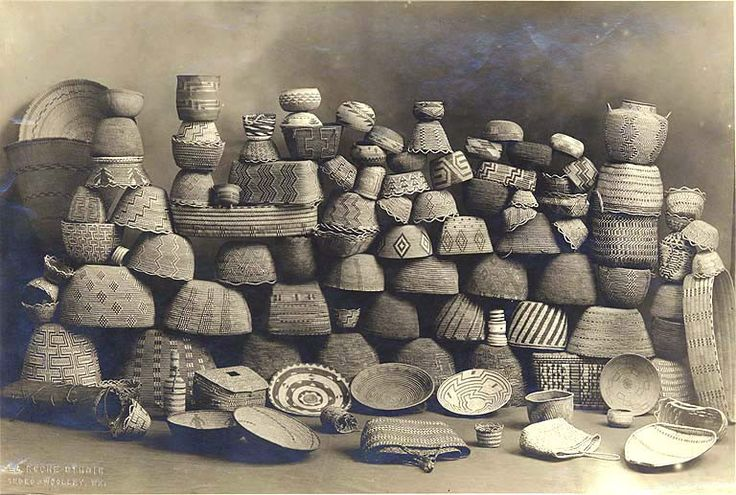 Indian baskets stacked for display in studio, Sedro Wooley, Washington, ca. 1900. UW Library Collection