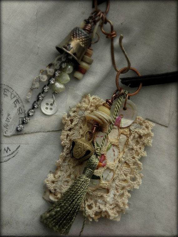 Boho shabby chic vintage embroidery and lace necklace  by quisnam, $45.00