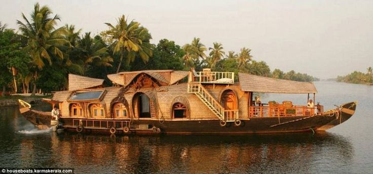 The Hobbit Houseboat, which blends traditional and modern design, is available to rent in the Indian state ofKerala. It was built using traditional methods and not one nail was  used in the construction