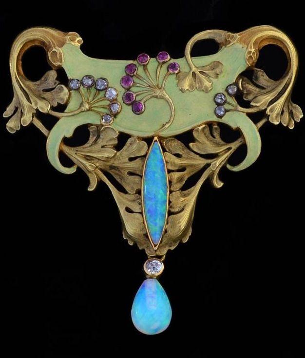 An Art Nouveau opal, diamond, ruby, enamel and gold brooch/pendant, by Antoine Bricteux. Circa 1900