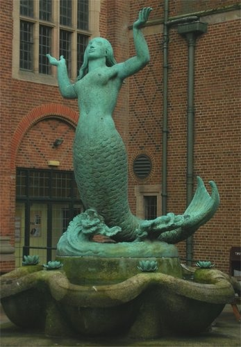 Bronze mermaid fountain, University of Birmingham, England