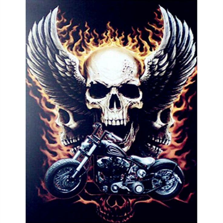 NEW picture of rhinestones Full round Diamond DIY Painting motorcycle skull Embroidery Cross Stitch Rhinestone Mosaic Painting #Affiliate