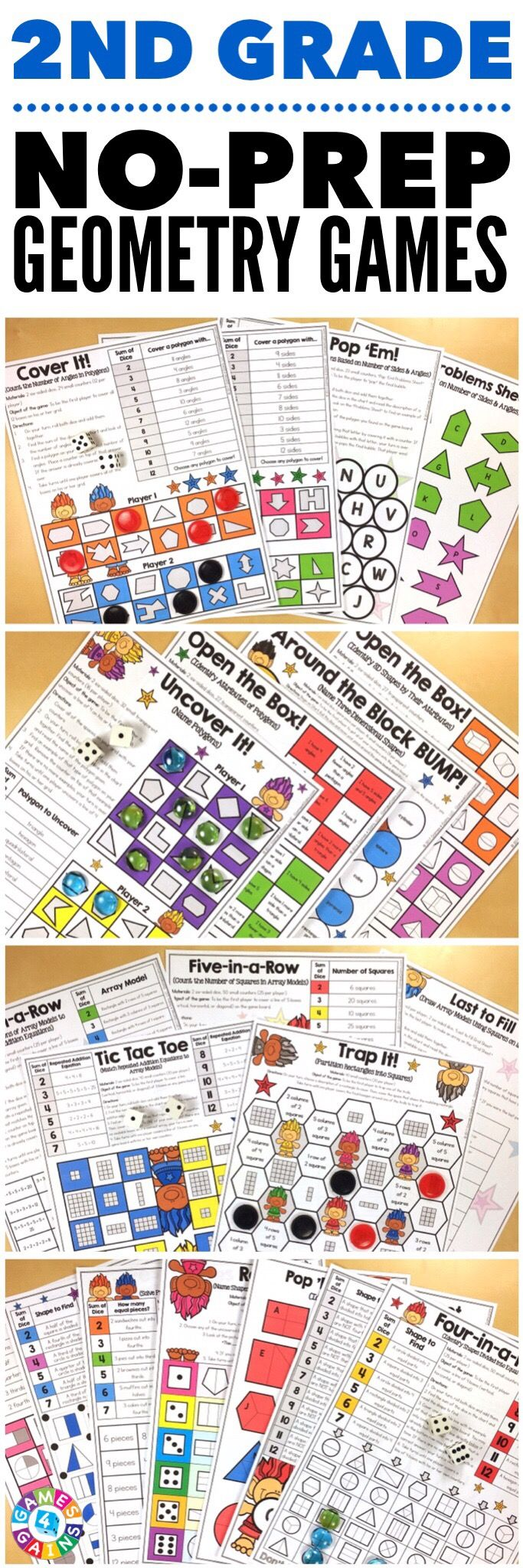 """""""Kids are LOVING these games during rotation time to reinforce standards."""" This 2nd Grade Geometry Games Pack includes 18 differentiated games for practicing identifying the attributes of polygons and three-dimensional shapes, naming polygons and three-dimensional shapes, partitioning rectangles into squares, partitioning shapes into halves, thirds, and fourths, and more! These games support the 2nd grade CCSS geometry standards {2.G.1, 2.G.2, 2.G.3, 2.OA.4}."""
