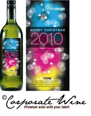 This design business helped  their clients have a Merry Christmas with gifts of Barossa Valley 2012 Sauvignon Blanc from our  Platinum Range of Wines. Bottles were topped off with colourful Custom Designed Labels created by Corporate Wine.
