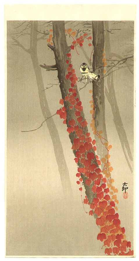 Ohara Koson: Birds and Red Ivy - Ca. 1930