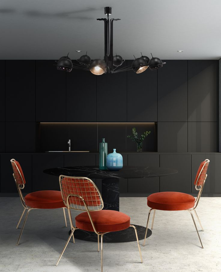 Neil is Deligthfull's newest suspension lamp, with round arcs and spherical diffusers it is reminiscent of the golden years of space exploration in the 60's. It has 8 arms with adjustable lights creating a versatile piece. It also offers the possibility of illuminating only 4 of the 8 diffusers.