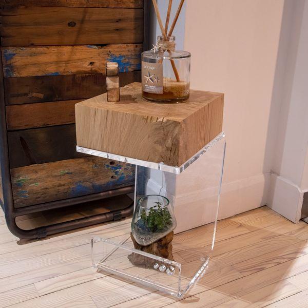 Bout De Canape Plexi Chene Un Design Cocooning Bout De Canape Bout De Canape Bois Bout De Canape Design