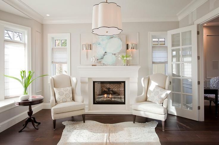 Fireplace with Wingback Chairs, Transitional, Living Room, Benjamin Moore Dove Wing