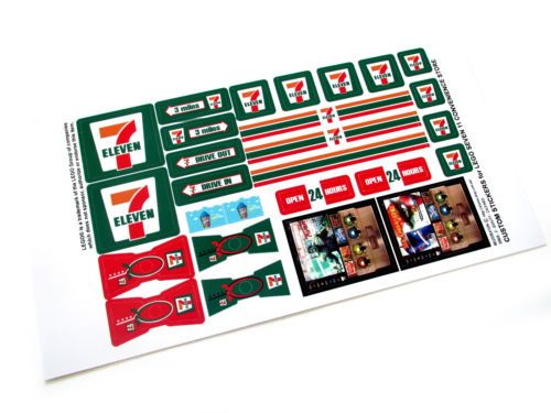 CUSTOM-DIE-CUT-STICKERS-for-LEGO-7-ELEVEN-7-11-STORE-3438-McDonald-size