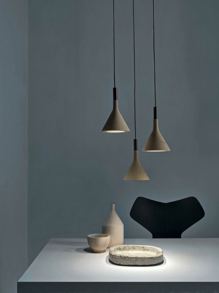 FOSCARINI - Aplomb. Studio Lucidi & Pevere. Cast concrete pendant. Beautifully crafted and smooth to touch.