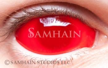 Red frosted sclera contact lenses from Samahain for $124