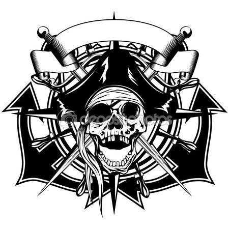 Пиратский череп Иллюстрация — стоковая иллюстрация #122589972