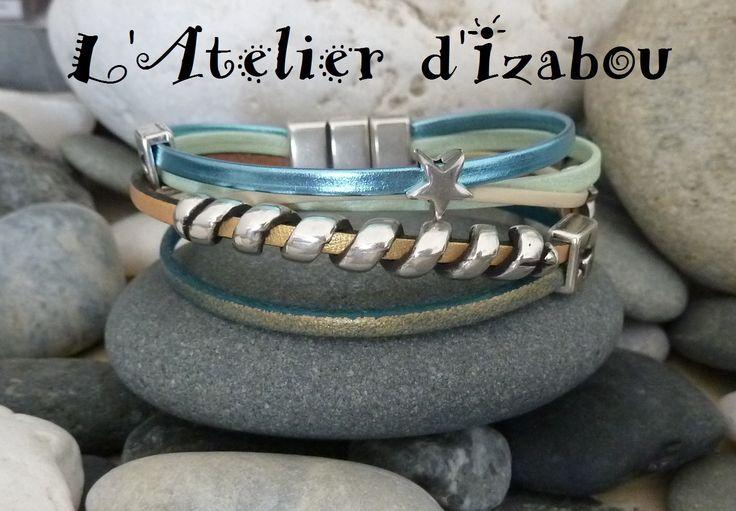 Bracelet femme large multirangs méli mélo de cuir et passant étoile et spirale : Bracelet par l-atelier-d-izabou