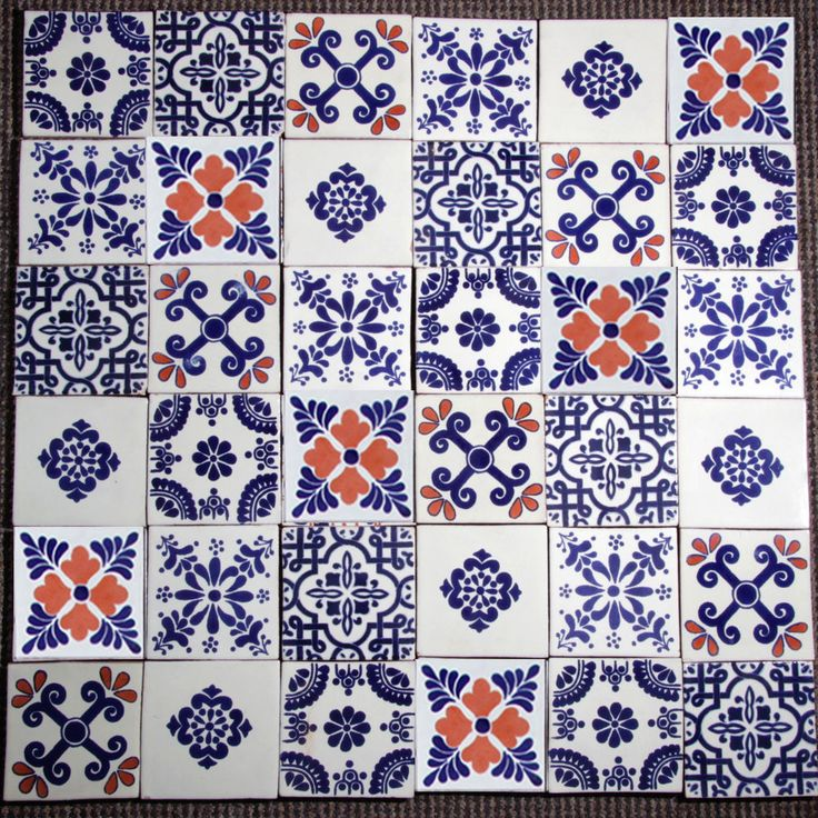 36 AUTHENTIC MEXICAN TILES 10.5X10.5CMS PUERTO DOS