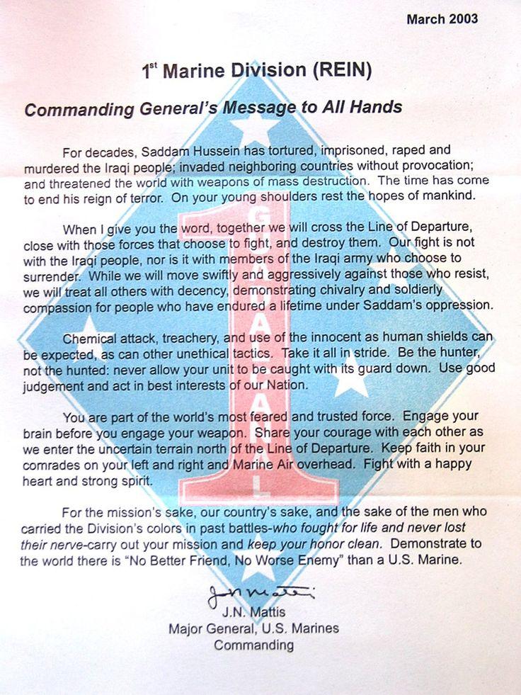 General James Mattis' letter to Marines in Iraq
