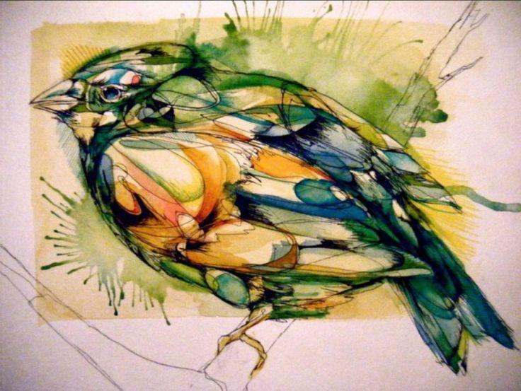 Эбби Даймонд (Abby Diamond) рисует просто птиц, используя акварели и тушь. Очень простые, милые рисунки, но сколько в них выразительности и теплоты! Эти незамысловатые рисунки несут положительный заряд, и созерцая их, невольно задумываешься об удивительной индивидуальности пернатых.
