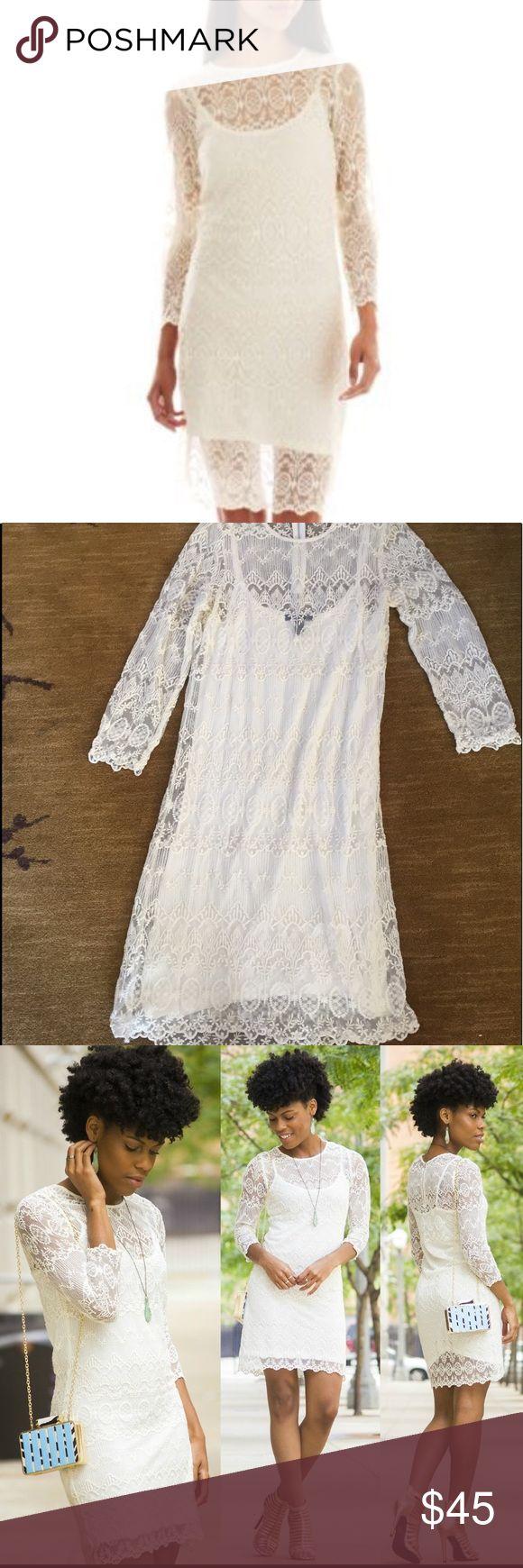 MNG by Mango white lace dress Worn once. Off white. Mango Dresses Long Sleeve