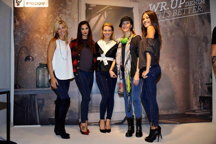 Federica Fontana, Francesca Chillemi, Elena Barolo, Ljudmila Radčenko and Giorgia Palmas at WR.UP® Denim official launch in Milano c/o Freddy Store.