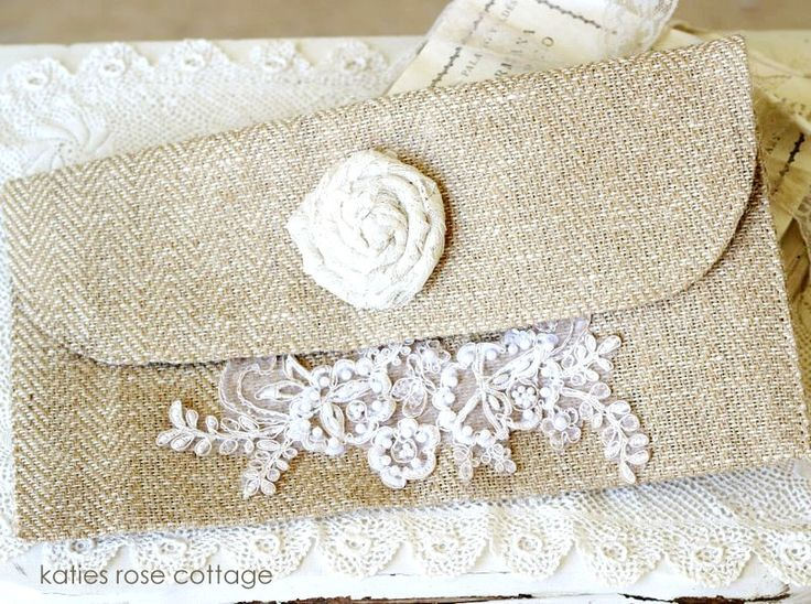 Tweed Clutch with Bridal Lace