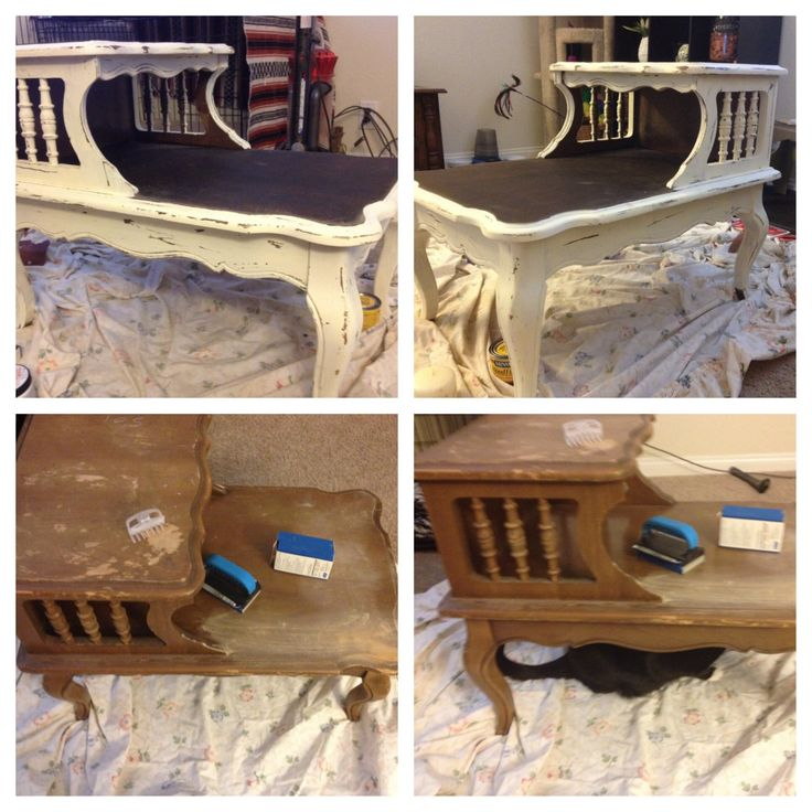 DIY Distressed Painted Nightstand    Swap meet end table 4.00  Candle 1.00  Sand paper 4.00  Stain 4.00  Paint 3.00  Total = 16.00