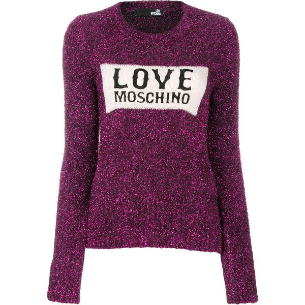 Love Moschino glitter logo jumper (£220) ❤ liked on Polyvore featuring tops, sweaters, purple sweater, love moschino sweater, jumpers sweaters, purple jumper and purple top