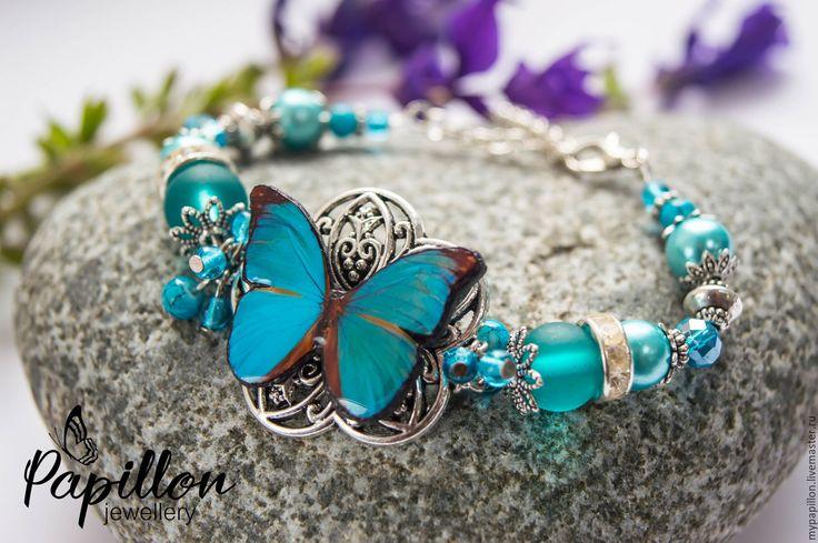 Купить Браслет Бабочка бирюзовая - бирюзовый, ручная работа, браслет, бабочка…