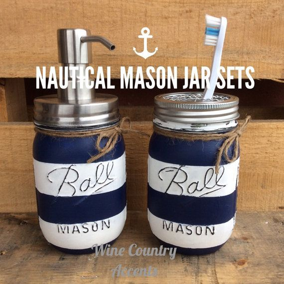 Add some unique charm to your bathroom decor with this Mason Jar Bathroom Set. Perfect for creating a nautical, beachy, rustic look in your home or as a gift.  Our pumps and lids are high quality solid stainless steel, rust resistant, not tin as so many are. All jars are primed, painted, distressed and sealed on the outside allowing them to hold water or any of your bathroom/ household items. The jars should not be submerged in water. To clean, gently wipe with a damp cloth. This listing is…