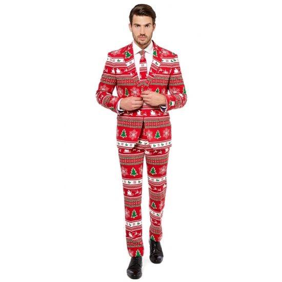 Heren kostuum met kerstboom print. Rood getailleerd pak voor heren met een all-over print in kerst thema. Het pak is gemaakt van hoogwaardig polyester en wordt geleverd met bijpassende stropdas.