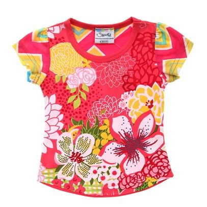Girls fashion  Pink/Yellow/White Tee With Bold Flower Print-AJ57053-Pink-Yellow-White $13.00 on Ozsale.com.au
