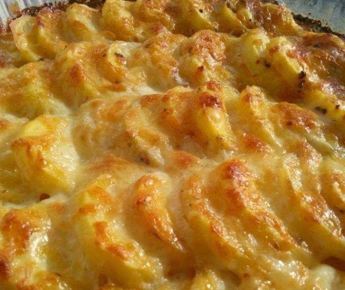 Cartofi gratinati la cuptor cu smantană, ierburi aromatice si cascaval • Gustoase.net