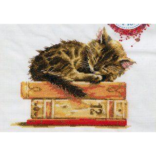 Stickpackung Stickbild Schlafendes Kätzchen, gezählter Kreuzstich