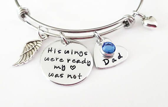 Your Wings Were Ready My Heart Was Not Adjustable Stainless Steel Charm Bracelet