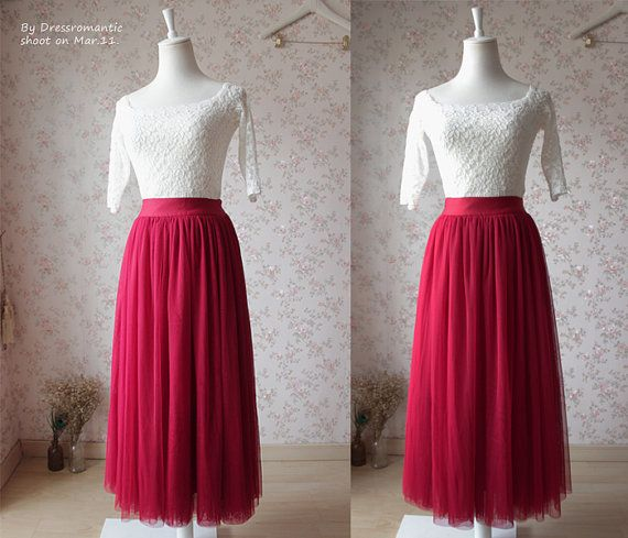 2016 Summer Red Tutu skirt long Tutu Skirt by Dressromantic-$59.99+