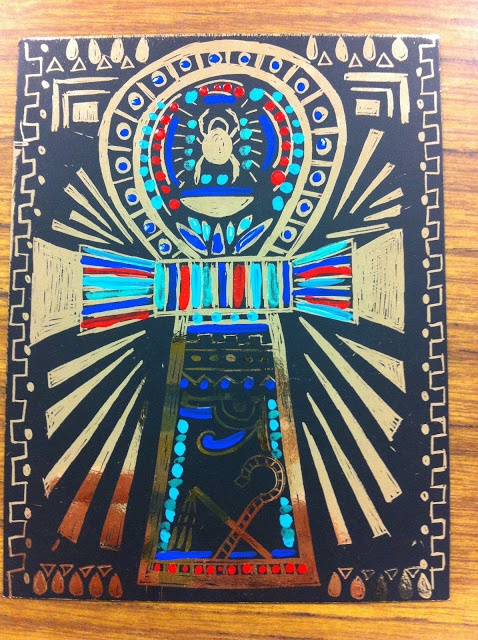 5th graders who finished there work early got to make an Egyptian amulet in gold scratch art paper.  They added detail with acrylic paints.