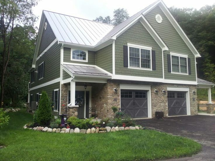 Best Sage Green Siding Gray Metal Roof And White Trim Love 400 x 300