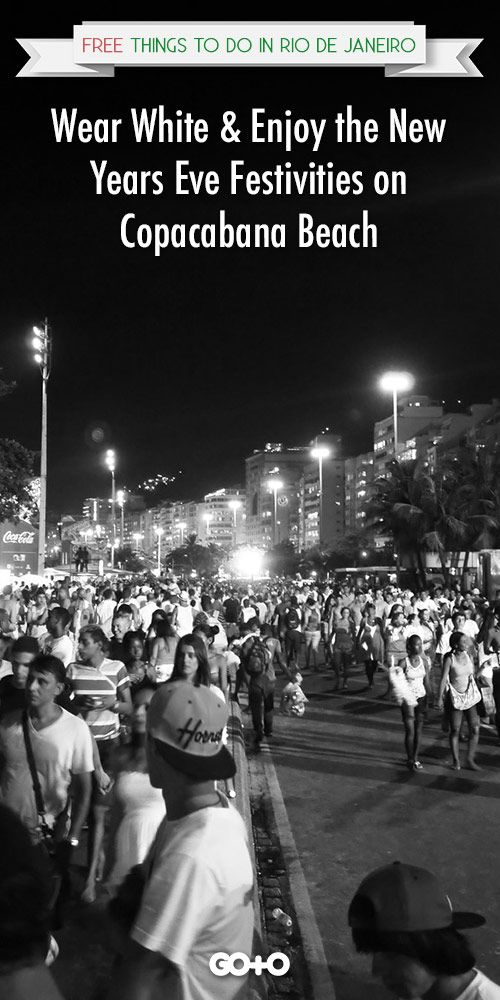 Rio de Janeiro, Brazil: Over 2 million people descend on to Copacabana Beach on New Years Eve to watch the spectacular 20-minute-long fireworks display and take part in a huge street party. This is one of the most popular times of the year to visit Rio de Janeiro #riodejaneiro #free #thingstodo