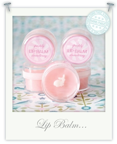 Hand Made Sparkly Strawberry Lip Balm