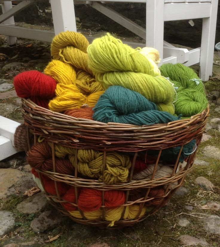 Skeins of wool dyed with natural colours at the dye house museum in Ebeltoft, Denmark.