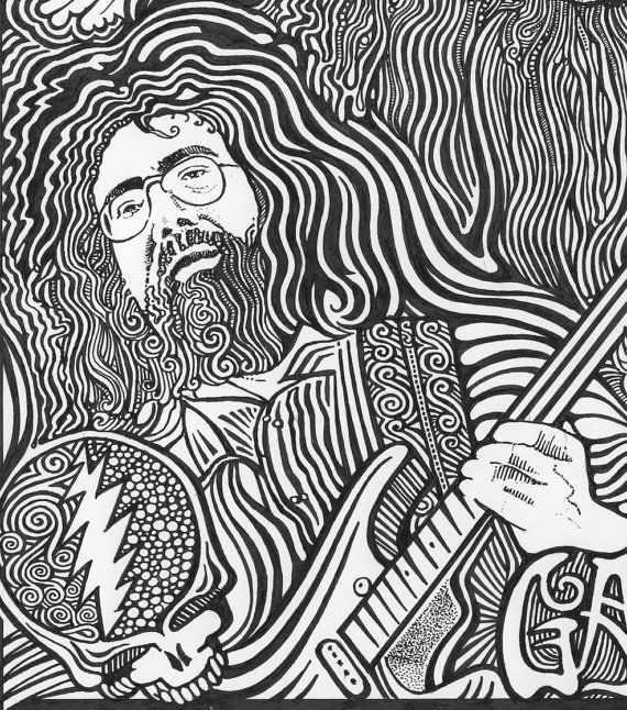 jerry garcia grateful dead black white art by posterography 2495 - Grateful Dead Coloring Book